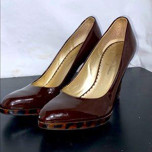 Jessica Simpson dark burgundy high heels size 8
